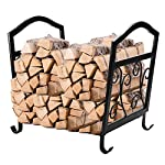 Pinty Steel Firewood Logs Rack with Cover Wood Baskets for Outdoor Use
