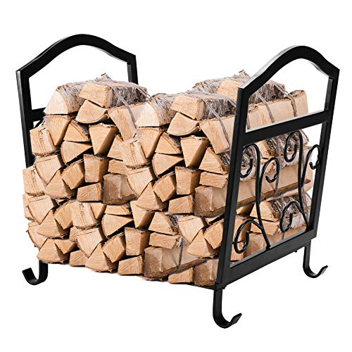 Wrought Iron Log Holder - Fireplace Log Holder Wrought Iron Indoor Fire Wood Stove Stacking Rack Logs Bin Firewood Storage Carrier Outdoor Fireplace Pit Decorative Wood Holders Fire Place Tools