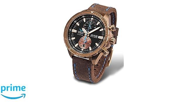 Amazon.com: Vostok Europe Almaz Bronze Chrono Mens Watch Brown Leather Strap 6S11/320O266: Watches