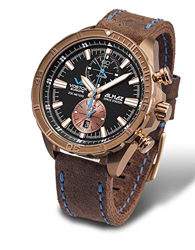 Vostok Europe Almaz Bronze Chrono Men's Watch Brown Leather Strap 6S11/320O266