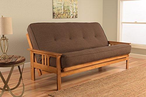 Kodiak Furniture KFMOBTLCOCLF5MD3 Monterey Futon Set with Butternut Finish, Full, Linen Cocoa (Cocoa Full Sleeper)