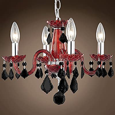 "Joshua Marshal 701417-002 - Victorian Design 4 Light 15"" Red Chandelier With Black Crystals"