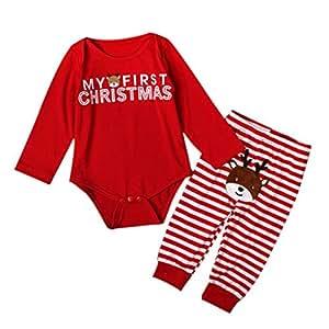 Baoblaze My First Christmas Newborn Baby Girls Boys Deer Romper Bodysuit Outfits+Pants - Deer, 12-18Months