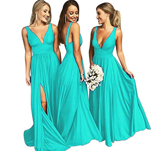 (Faironline Bridesmaid Dress Long V Neck Backless Split Prom Evening Gowns for Women Size 4 Tiffany Blue)