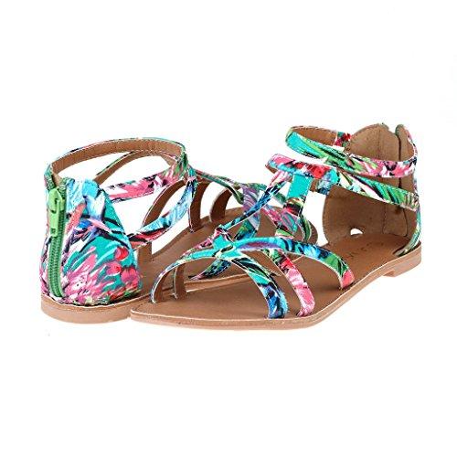 DREAM PAIRS SAPHA Women's Summer Trendy Print Gladiator Back Zipper Flat Sandals