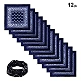 Basico 100% Cotton Head Wrap Bandana 12 Packwith Tube Face Mask/Headband (Navy Paisley)