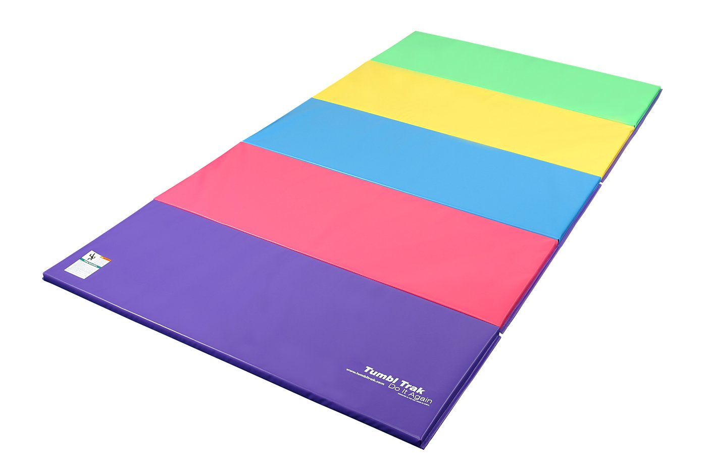 Tumbl Trak Folding Gymnastics Mat, Bright Pastel, 5 ft x 10 ft x 2 in