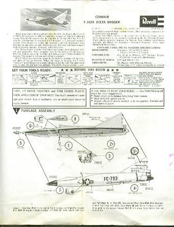 Revell Convair F-102A Delta Dagger instructions 1968 at Amazon's