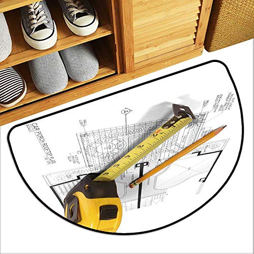 Bedside Rug A Measuring Tape and a Pencil Over a Construction Drawing of a House Antiskid Entrance Mat W23xH15 INCH ()