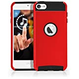 iPod Touch 5 Case, MagicMobile® Hybrid Protective Case Cover for Apple iPod Touch 5th Gen Shockproof Impact Resistant Silicone Hard Plastic Thin Armor Case for iPod Touch 5 [Red / Black]