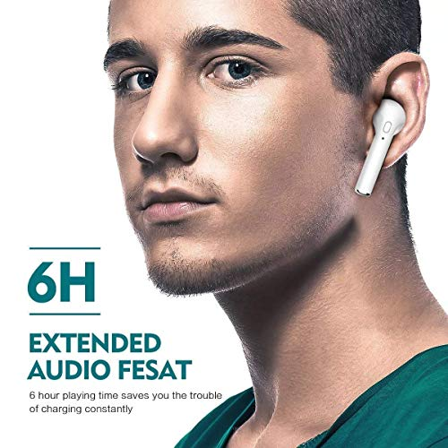 Bluetooth Headphones, Wireless Headphones Headsets Stereo in-Ear Earpieces Earphones with Noise Canceling Microphone, with 2 Wireless Built-in Mic Earphone and Charging Case for Most XVH0001