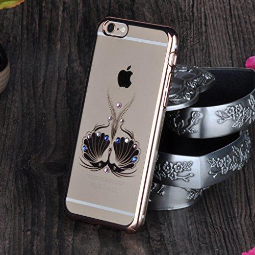 """Infinite U Paon Bling Coloré Strass Protection Complète Hard Transparent Or Rose Plastique Case/Coque/Etui de Téléphone Mobile pour iPhone 6/6s 4.7"""" Femme"""