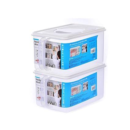 Contenedor de almacenamiento de alimentos, contenedor de refrigerador con tapa - Casillero de plástico apilable