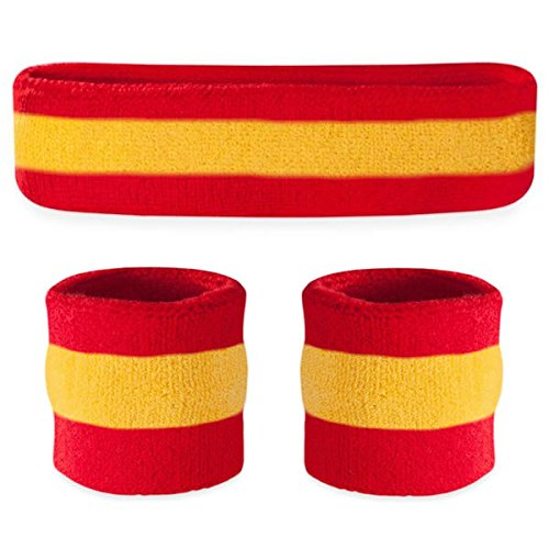 Suddora Striped Sweatband Set - (1 Headband and 2 Wristbands) Cotton for Sports & More. (Red Yellow Red)