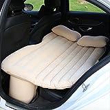 Walmeck Multifunctional Car Flocking Air Mattress Car Travel Inflatable Mattress Air Bed Cushion Camping Beige