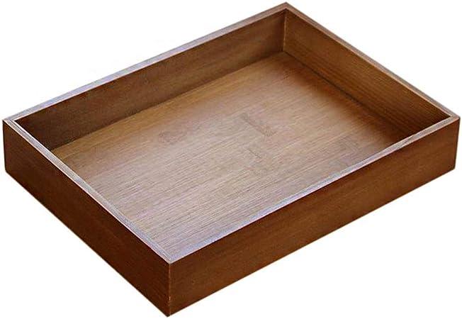 wdoit Retro bandeja de madera rectangular caja de almacenamiento de frutas taza café cocina suministros, bambú, L, 33 x 24.5 x 5.5 cm: Amazon.es: Hogar