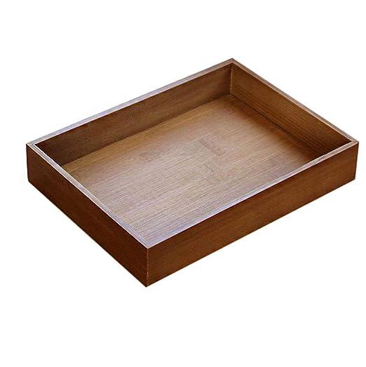 wdoit Retro bandeja de madera rectangular caja de almacenamiento de frutas taza café cocina suministros, bambú, L, 33 x 24.5 x 5.5 cm