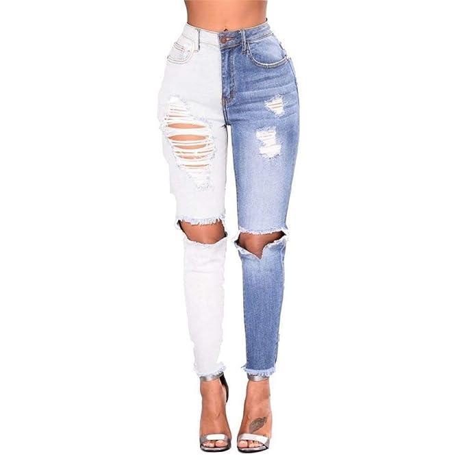 Laisla fashion Pantalones Vaqueros Pitillo De Verano para ...