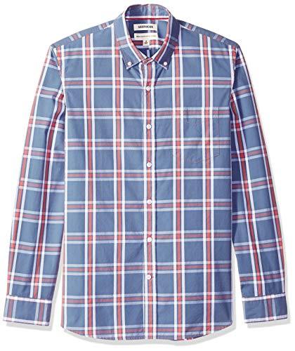 Multi Plaid Shirt - Goodthreads Men's Standard-Fit Long-Sleeve Plaid Poplin Shirt with Button-Down Collar, Denim Multi, Medium