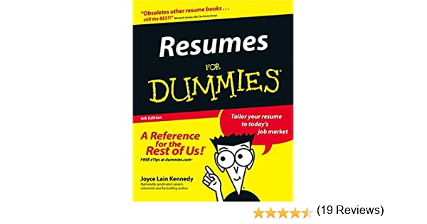 resumes for dummies amazonca joyce lain kennedy books - Resume For Dummies