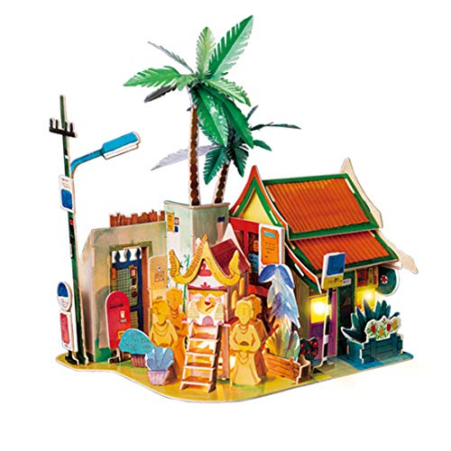Rolife 3D Wooden Puzzle,LED House Model,Miniature DIY Dollhouse Decorations-City Architecture 3D Puzzle Series-Best Birthday Gifts for Women and Girls (Sunny Chiengmai)