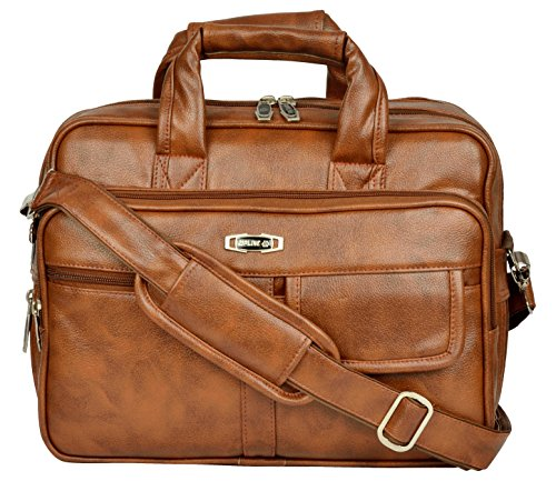ZIPLINE Office Laptop Vegan Leather Executive Formal 13″ Laptop & MacBook Briefcase Messenger/Office/Travel/Business/Executive Bag for Men Women with Multiple compartments (Brown)