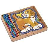 Melissa & Doug - 13782 - 5 Pannelli in Legno riproducenti animali da compagnia e 5 cordoncini colorati