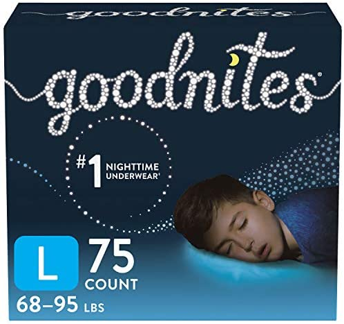 Goodnites Nighttime Bedwetting Underwear, Boys' L (68-95 lb.), 75 Ct