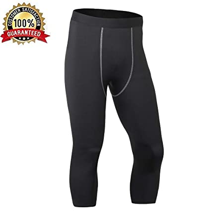 2970529f03 LEICHR Men's Compression 3/4 Capri Shorts Quick Dry Sports Pants Workout  Running Tights Leggings