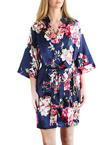 Bella Bride Women's Bridesmaid Satin Kimono Robe (Navy Print, S/M) -