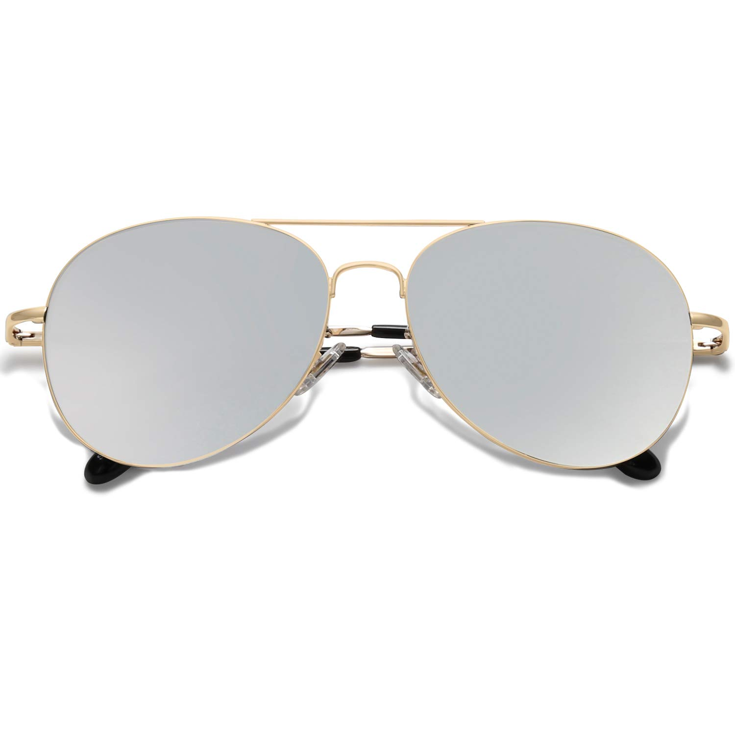 SOJOS Classic Aviator Mirrored Flat Lens Sunglasses Metal Frame with Spring Hinges SJ1030 with Gold Frame/Silver Mirrored Lens by SOJOS