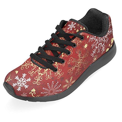 Interestprint Femmes Jogging Running Sneaker Léger Aller Facile À Pied Confort Décontracté Chaussures De Course Joyeux Noël Hiver Flocons De Neige Or Blanc Rouge Multi 1