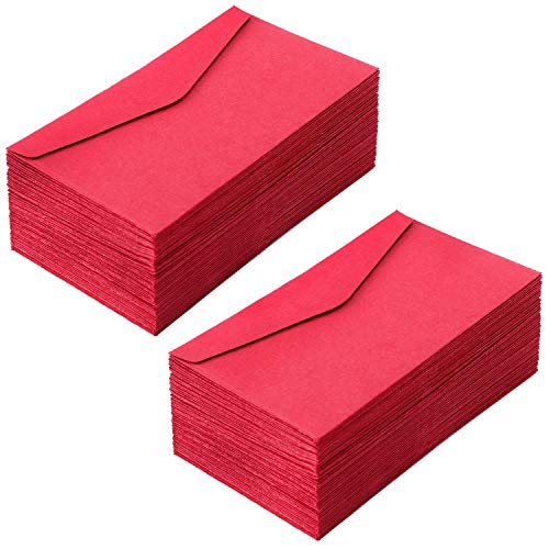 Sunshane 100 Pieces Small Enclosure Card Envelopes Mini Gift Card Envelopes for Christmas Chinese New Year and Valentine's Day (4.5 x 2.5 Inch, Red)
