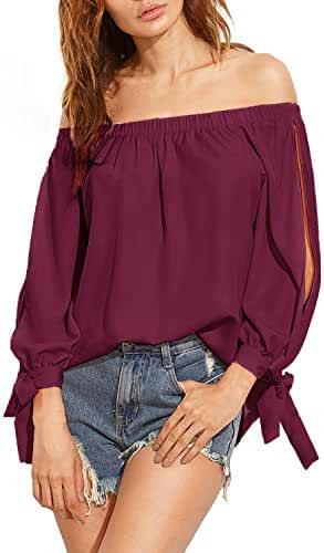 ZANZEA Women's Off The Shoulder Split Knotted Long Sleeve Loose Boat Neck Blouse