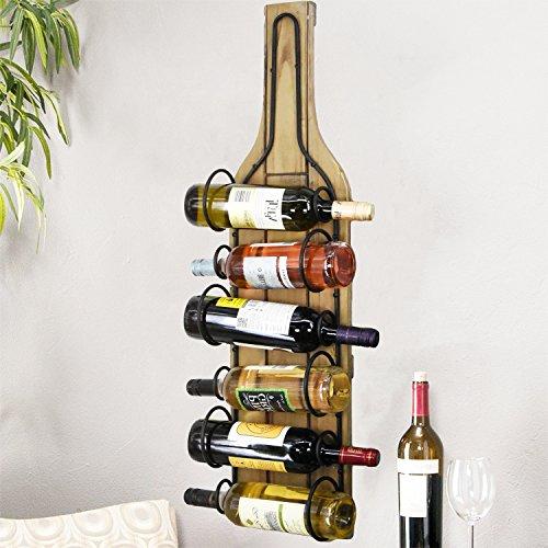 Large Wooden Wall Mounted Wine Bottle Holder Display Storage Rack, Natural...