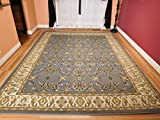 Large Persian Style Rugs Traditional Rug Greish Blue 8 by 11 Blue Rugs Cream Green Beige 8 x 10 Area Rugs For Living Room Prime, Large 8x11
