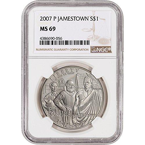 2007 P US Commemorative BU Silver Dollar Jamestown Large Label $1 MS69 NGC