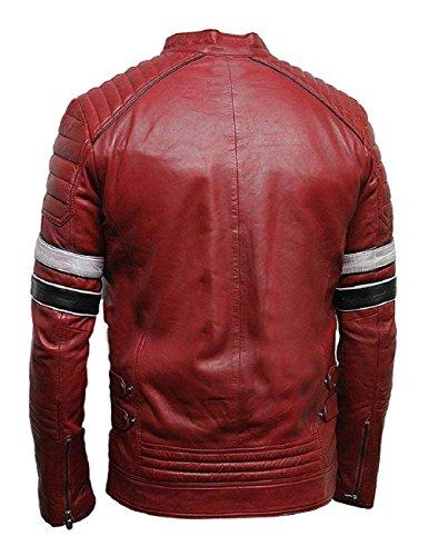 chaqueta rojo estilo Retro Cafe Racer Leatherly cuero qXF0ZBwWx
