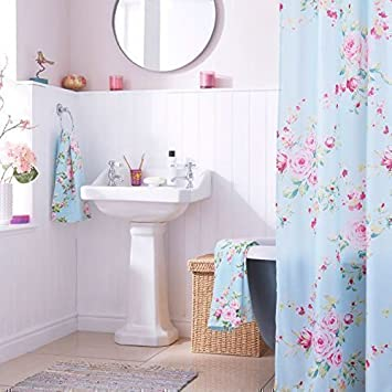 PCJ Supplies Shabby Chic Blue Roses Durable Pink Shower Curtain 180 CM X