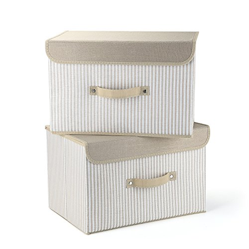 Storage Bins,Mee'life Set of Two Foldable Storage Box with Lids and Handles Storage Basket Storage Needs Containers Organizer With Built-in Cotton Fabric Closet Drawer Removable Dividers(Cream)