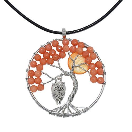 LParkin Owl Tree Of Life Necklace Pendant Jewelry, Handmade Tree Of Life Owl Necklace, Family Gift Ideas (Yellow)