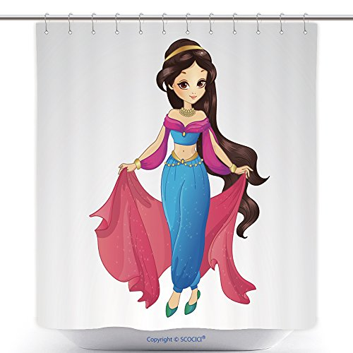 Waterproof Shower Curtains Vector Illustration Of Beautiful Arabian Princess In Traditional Blue Dress 386460913 Polyester Bathroom Shower Curtain Set With Hooks (Arabian Themed Dresses)