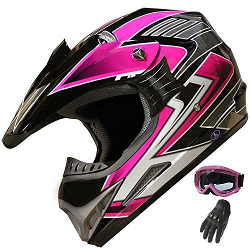 Women's Motocross ATV Helmet Dirt Bike OffRoad Mountain Bike Helmet Goggles Gloves Combo Pink 189 (L) ()
