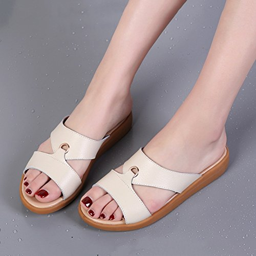 5 Slope dimensioni Fibbie Colore Genuine In Metallo TINGTING 4 Colori Nero Scarpe Ciabatte Sandali Taglie 36 Pantofole Rice Leather Pattini Disponibili qw07fxBB