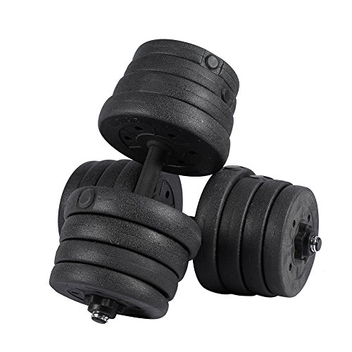 Weight Dumbbell Set 30KG (2 Pcs) Adjustable Cap Barbell Plates Gym Strength Workout by Yosoo