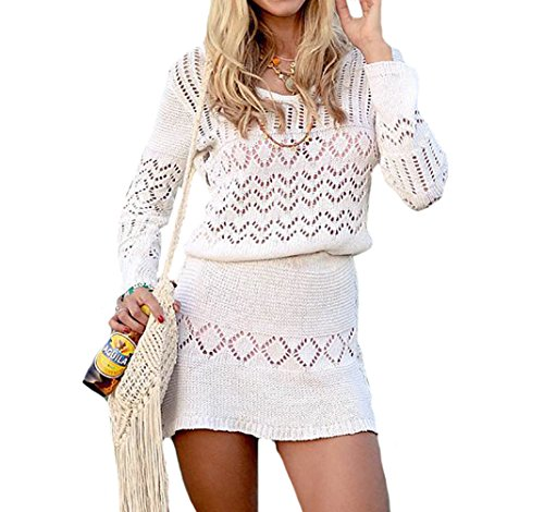 Bestyou Women's Lace Sexy Bikini Swimsuit Bathing Suit Cover up Tops Crochet Dress (Off White A)