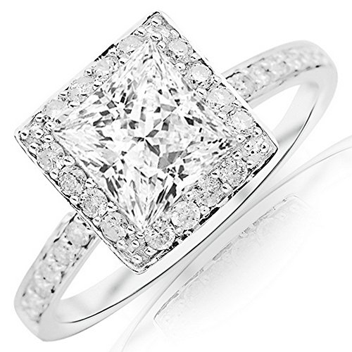 2 Ctw 14K White Gold GIA Certified Princess Cut Classic Halo Style Pave Set Princess Cut Diamond Engagement Ring, 1.5 Ct G-H VS1-VS2 (Pave Vs2 Ring)