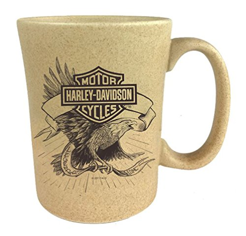 Harley-Davidson Speckle B&S Eagle Ceramic Coffee Cup, Natural 15 oz. 3SMN4907 (Va Flags Decorative Richmond)
