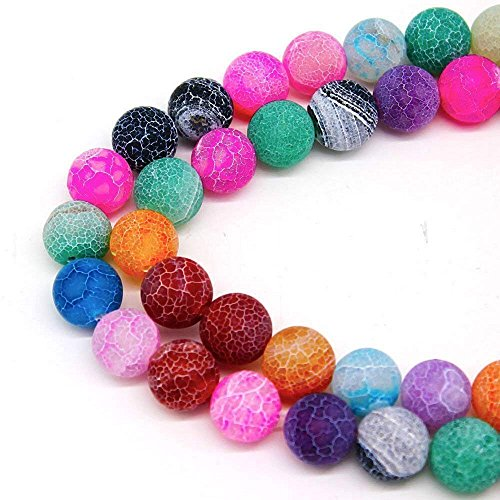 (8mm Multicolor Frosted Agate Beads Round Loose Gemstone Beads for Jewelry Making Strand 15 Inch (47-50pcs) )