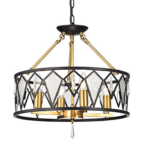 Edvivi 4-Light Black and Antique Gold Dual Setup Chandelier with Ice Glass and Crystals | Mid-Century Modern Lighting